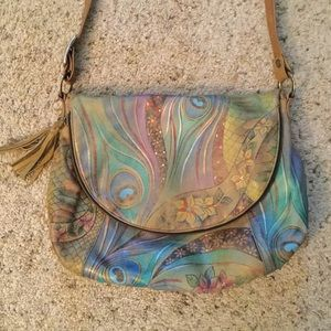 ANUSCHKA PEACOCK FLOWR LEATHER FLAP SHOULDER PURSE